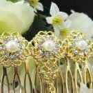 Handmade Bridal golden pearl crystal comb;wedding tiara ;bride headpiece accessories #1065g