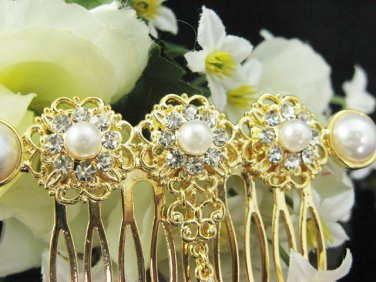 Handmade Bridal golden pearl crystal comb;wedding tiara ;bride headpiece accessories #1065g