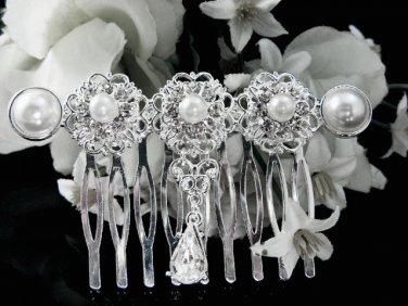 Handmade Bridal silver crystal pearl comb ;wedding tiara;bride headpiece ;opera accessories #1065s
