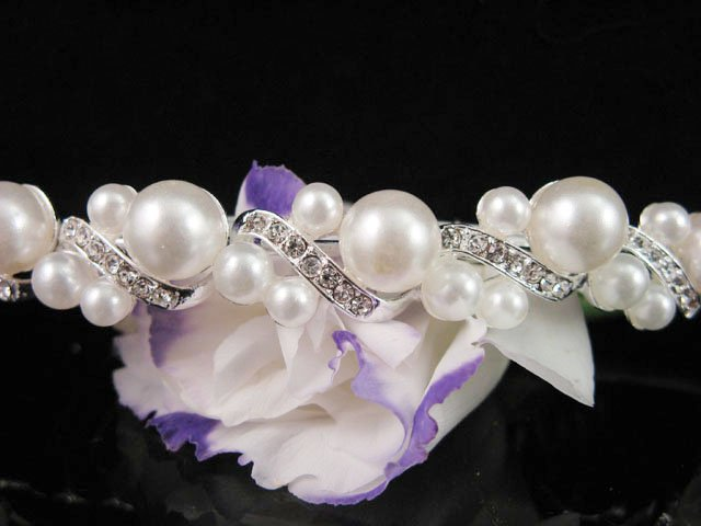 Bridal silver crystal pearl comb ;wedding tiara;bride headpiece ;opera accessories#188s