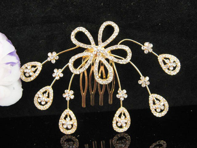 Floral Bridal GOLDEN crystal comb ;wedding tiara;bride headpiece ;opera accessories#706G