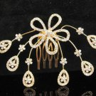 Floral Bridal GOLDEN crystal comb ;wedding tiara;bride headpiece ;opera accessories#706G