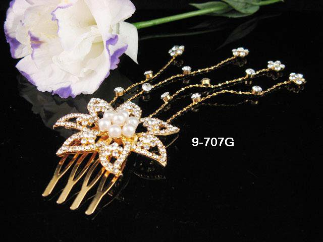 Floral Bridal GOLDEN crystal comb ;wedding tiara;bride headpiece ;opera accessories#707G