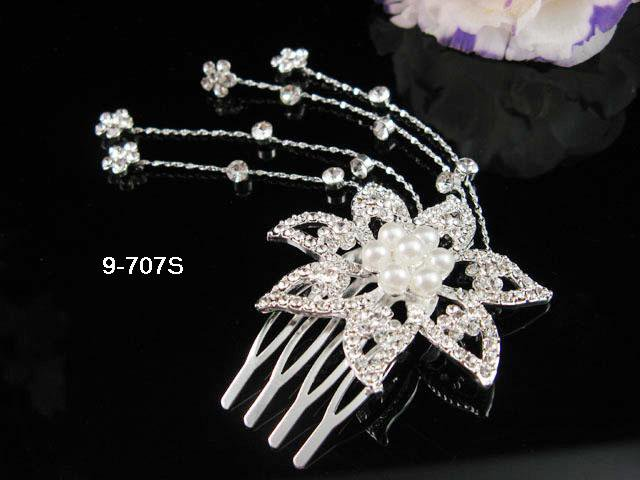 Floral Bridal SILVER crystal comb ;wedding tiara;bride headpiece ;opera accessories#707S