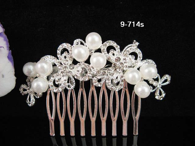 Floral Bridal SILVER crystal comb ;wedding tiara;bride headpiece ;opera accessories#714S