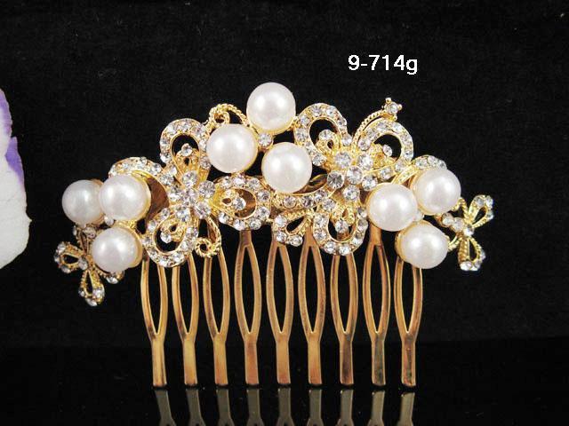 Floral Bridal GOLDEN crystal comb ;wedding tiara;bride headpiece ;opera accessories#714G