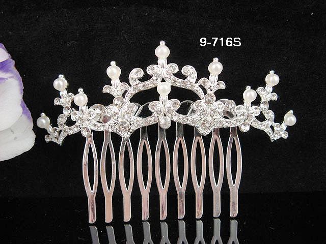 Fancy Bridal silver crystal comb ;wedding tiara;bride headpiece ;opera accessories#716s