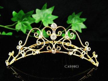 Sweetheart golden comb;Bridal crystal comb ;wedding tiara;bride headpiece ;opera accessories#4598g