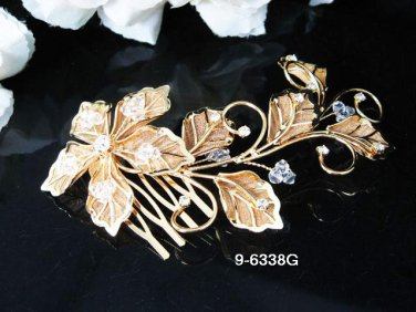 Golden Bridal crystal comb ;Flower girl comb;Wedding tiara;bride headpiece ;opera accessories#38g