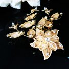 Golden Bridal crystal comb ;Floral hair comb;Wedding tiara;bride headpiece ;opera accessories#42g