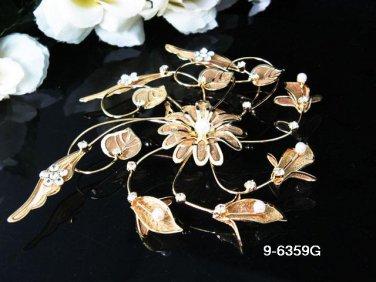 Golden Bridal crystal comb ;Floral hair comb;Wedding tiara;bride headpiece ;opera accessories#59g