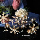 Golden Bridal crystal comb ;Floral hair comb;Wedding tiara;bride headpiece ;opera accessories#80g