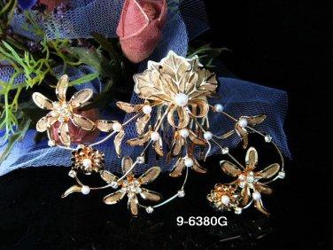 Golden Bridal crystal comb ;Floral hair comb;Wedding tiara;bride headpiece ;opera accessories#80g