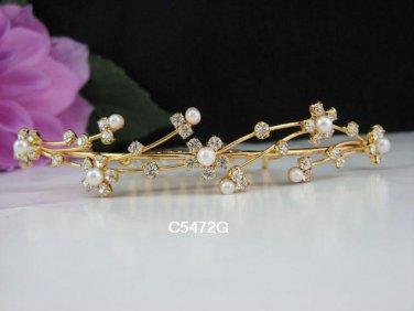 Golden Bridal crystal comb ;Floral hair comb;Wedding tiara;bride headpiece ;opera accessories#72g