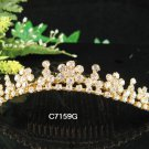 Golden Bridal crystal comb ;Floral hair comb;Wedding tiara;bride headpiece ;opera accessories#59g