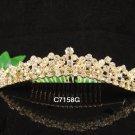 Golden Bridal crystal comb ;Floral hair comb;Wedding tiara;bride headpiece ;opera accessories#58g