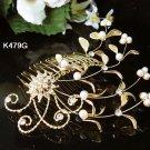 Golden Bridal crystal comb ;Floral hair comb;Wedding tiara;bride headpiece ;opera accessories#479g