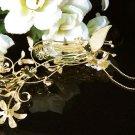Golden floral hair comb;Bridal crystal comb ;Wedding tiara;bride headpiece ;opera accessories#2793g