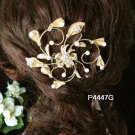 Golden floral hair comb;Bridal crystal comb ;Wedding tiara;bride headpiece ;opera accessories#47g