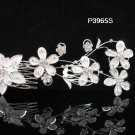 Floral silver crystal comb ;Wedding tiara;bride bridesmaid headpiece ;opera accessories#3965