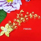 Floral golden crystal comb ;Wedding tiara;bride bridesmaid headpiece ;opera accessories#3653g