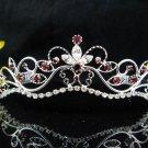 Wedding tiara;Fancy silver crystal red tiara;bride bridesmaid headpiece ;opera accessories#11dr