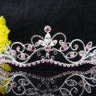 Wedding tiara;Fancy silver crystal pink tiara;bride bridesmaid headpiece ;opera accessories#11lp