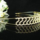 Golden Bridal tiara;crystal pearl wedding headband ;bridesmaid headpiece ;opera accessories#412g