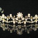 Floral Golden Bridal tiara;crystal wedding tiara ;bridesmaid headpiece ;opera accessories#8498g