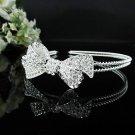 silver Bridal Tiara;Bride regal ;cute bow dancer regal ;Rhinestone Wedding Headband;opera tiara#1135