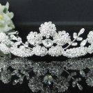 Silver Floral Bridal Tiara;Bride regal ;dancer regal ;Rhinestone Wedding Headband;opera tiara#7653