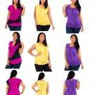 Women plus size ruched draped tops blouses pink yellow purple 1xl 2xl 3xl  FREE SHIPPING