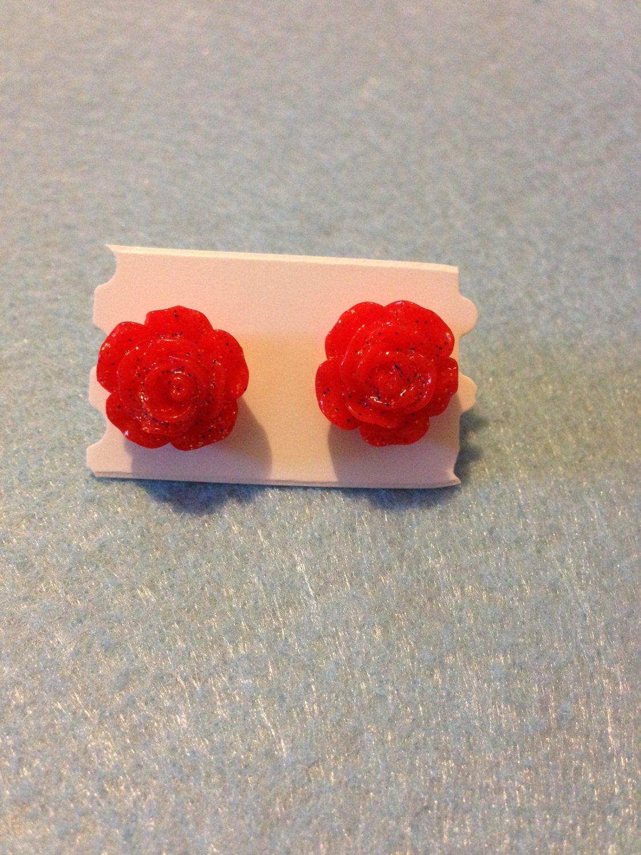 Red Resin Flower  Stud Earrings