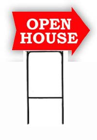 Arrow Shaped Sign with Heavy Duty Holder - Open House - Red