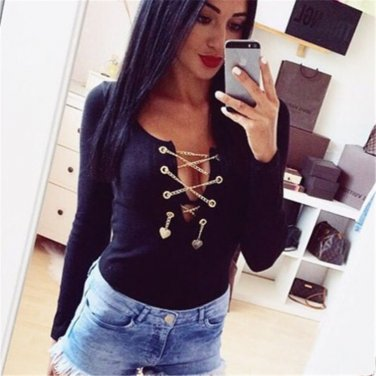 Women's Black Sexy Deep v-neck Cross Long Sleeve Jumpsuit FREE DELIVERY