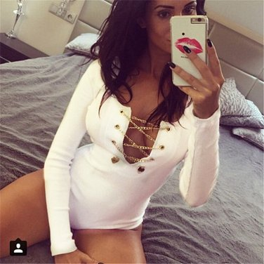 Women's Red Sexy Deep v-neck Cross Long Sleeve Jumpsuit FREE DELIVERY