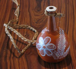 Vintage Ceramic small vase (moringa) by Brazilian Naif Artist Ana Fernandes