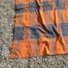 Handmade Cotton Throw Blanket in Orange and Blue Plaid