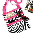 SWDSI1055- Black w/White Zebra Print Crossbody Purse Pink Trim