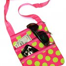 DSSWI1153- Pink with Green Dots Crossbody Purse
