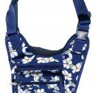 DSSWI1157 - Navy Blue Crossbody Purse with Hawaiian flowers