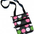 DSSWI1160- Black with Green, Pink and White Dots Crossbody Purse