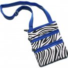 DSSWI1161- Zebra Print Crossbody Purse with Blue Trim