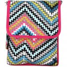 DSSWI1201 -Ipad BagMulti Color Chevron Print with Pink Trim
