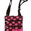 """SWDSI1222 Crossbody Bag 10"""" Brown with Pink Dots"""