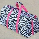 "SWDSI1086 - 20"" Black & White Zebra Print Duffle Bag w/ Pink Trim"