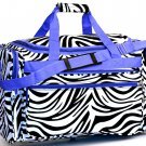 "SWDSI1137 -13"" Black Zebra Print travel Bag - Lavender Trim"