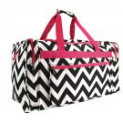 BLACK AND WHITE PINK TRIM 22 IN CHEVRON DUFFLE  SWDSI1173