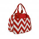SWDSI1191 - Red with White Chevron Small Bowler Style Lunch Bag
