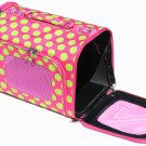 SWDSI532 L - 16 INCH LARGE PET CARRIER PINK WITH GREEN DOTS
